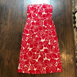 The Limited Red & White Floral Strapless Dress